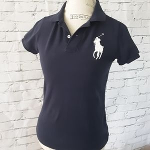 POLO BY RALPH LAUREN NAVY FITTED POLO SHIRT